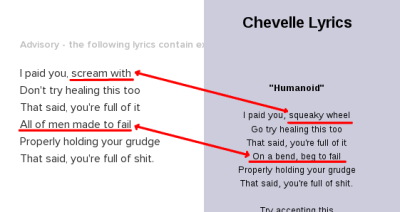 conflicting lyrics